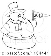 Cartoon Of An Outlined Snowman Holding A New Year 2013 Flag Royalty Free Vector Clipart by djart