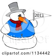 Cartoon Of A Snowman Holding A New Year 2013 Flag Royalty Free Vector Clipart by Dennis Cox