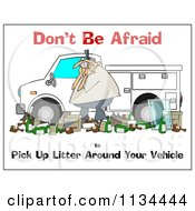 Cartoon Of A Man Surrounded By Litter Around His Truck With Safety Text Royalty Free Clipart by djart