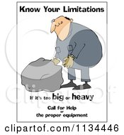 Cartoon Of A  Worker Trying To Lift A Heavy Rock With Safety Text Royalty Free Clipart