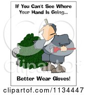 Cartoon Of A Gas Meter Worker Trying Reach Through A Bush With Safety Text Royalty Free Clipart