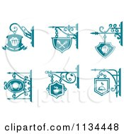 Clipart Of Teal Pub Cafe Restaurant Shingle Signs Royalty Free Vector Illustration