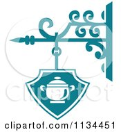 Clipart Of A Teal Restaurant Diner Shingle Sign 3 Royalty Free Vector Illustration