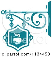 Clipart Of A Teal Cafe Shingle Sign Royalty Free Vector Illustration