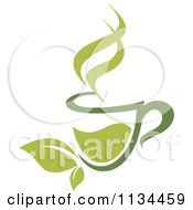 Clipart Of A Cup Of Green Tea Or Coffee 4 Royalty Free Vector Illustration