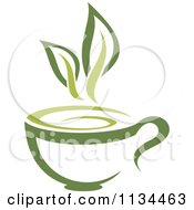 Clipart Of A Cup Of Green Tea Or Coffee 1 Royalty Free Vector Illustration