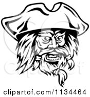 Clipart Of An Angry Black And White Pirate Face 2 Royalty Free Vector Illustration
