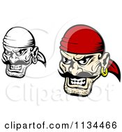 Clipart Of Angry Black And White Pirate Faces 1 Royalty Free Vector Illustration