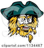Clipart Of An Angry Pirate Face 2 Royalty Free Vector Illustration