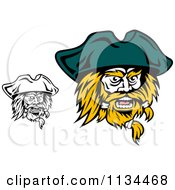 Clipart Of Angry Black And White Pirate Faces 2 Royalty Free Vector Illustration