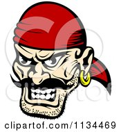 Clipart Of An Angry Pirate Face 1 Royalty Free Vector Illustration