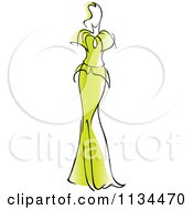 Clipart Of A Woman In A Gorgeous Green Gown Royalty Free Vector Illustration