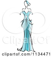 Clipart Of A Woman In A Gorgeous Blue Gown Royalty Free Vector Illustration