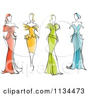 Clipart Of Women In Gorgeous Gowns And Dresses Royalty Free Vector Illustration