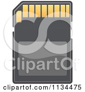Clipart Of A Memory SD Camera Card 2 Royalty Free Vector Illustration
