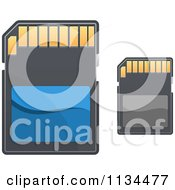 Clipart Of Memory SD Camera Cards Royalty Free Vector Illustration