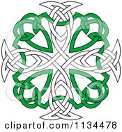 Clipart Of A Green And White Celtic Knot Cross Royalty Free Vector Illustration by Vector Tradition SM