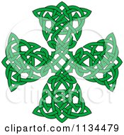 Clipart Of A Green Celtic Knot Cross Royalty Free Vector Illustration