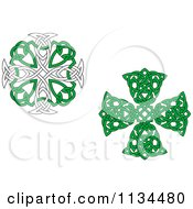 Clipart Of Green Celtic Knot Crosses Royalty Free Vector Illustration