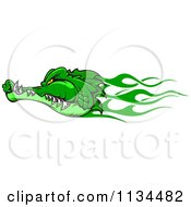 Clipart Of A Green Flaming Crocodile Head Royalty Free Vector Illustration by Vector Tradition SM