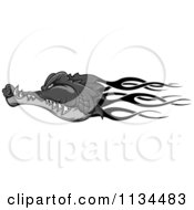 Clipart Of A Grayscale Flaming Crocodile Head Royalty Free Vector Illustration by Vector Tradition SM