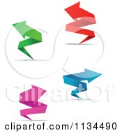 Clipart Of Four Paper Arrow Banners And Shadows Royalty Free Vector Illustration