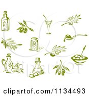 Clipart Of Green Olives Branches And Oils Royalty Free Vector Illustration