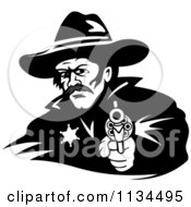 Clipart Of A Black And White Cowboy Sheriff Pointing A Pistol 2 Royalty Free Vector Illustration by Vector Tradition SM