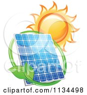 Clipart Of A Blazing Sun Leaf Circle And Solar Panel Royalty Free Vector Illustration