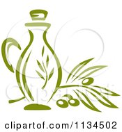 Clipart Of A Bottle Of Olive Oil 2 Royalty Free Vector Illustration