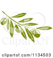 Clipart Of A Green Olive Branch 2 Royalty Free Vector Illustration