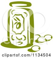Clipart Of A Jar Of Green Olives Royalty Free Vector Illustration