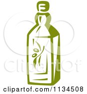 Clipart Of A Bottle Of Olive Oil 1 Royalty Free Vector Illustration