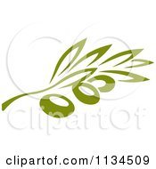 Clipart Of A Green Olive Branch 3 Royalty Free Vector Illustration