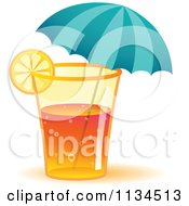 Clipart Of A Long Island Iced Tea Cocktail Drink With An Umbrella Royalty Free Vector Illustration