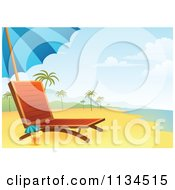 Clipart Of A Chaise Lounge And Cocktail On A Tropical Beach Royalty Free Vector Illustration