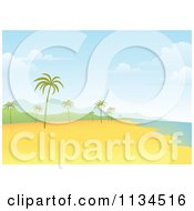Clipart Of A Tropical Beach With Palm Trees And Mountains Royalty Free Vector Illustration by Qiun