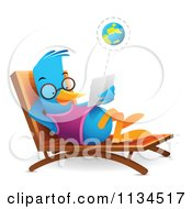Cartoon Of A Bluebird Using A Tablet On A Chaise Lounge Royalty Free Vector Clipart by Qiun