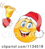 Cartoon Of A Christmas Emoticon Ringing A Bell Royalty Free Vector Clipart