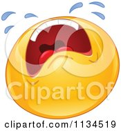 Cartoon Of A Wailing Emoticon Royalty Free Vector Clipart
