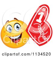 Cartoon Of A Fan Emoticon With A Foam Finger Royalty Free Vector Clipart