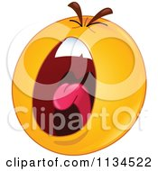 Cartoon Of A Screaming Emoticon Royalty Free Vector Clipart