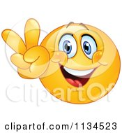 Cartoon Of A Victory Or Peace Emoticon Royalty Free Vector Clipart