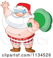 Cartoon Of Santa Waving In His Beach Shorts And Sunglasses Royalty Free Vector Clipart by yayayoyo