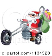 Cartoon Of Santa Riding A Chopper Motorcycle Royalty Free Vector Clipart