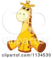 Cartoon Of A Cute Giraffe Sitting Royalty Free Vector Clipart by yayayoyo #COLLC1134530-0157