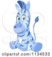Cartoon Of A Cute Blue Zebra Sitting Royalty Free Vector Clipart
