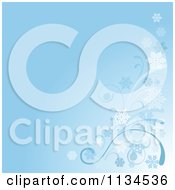 Clipart Of A Blue Winter Breeze And Snowflake Background Royalty Free Vector Illustration