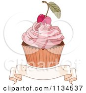Cartoon Of A Cherry Topped Cupcake Over A Blank Ribbon Banner Royalty Free Vector Clipart