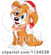 Cartoon Of A Cute Christmas Puppy Wearing Jingle Bells And A Santa Hat Royalty Free Vector Clipart